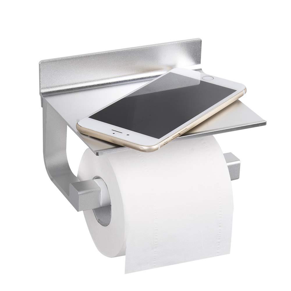 Hoomtaook Portarrollos de Papel higiénico, Inoxidable, Montaje en Pared sin Taladro, Aluminio, Soporte para Papel de baño con Estante para móviles, Organizador, Almacenamiento para lavabos,Plateado: Amazon.es: Bricolaje y herramientas