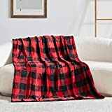 Touchat Fleece Throw Blanket, Buffalo Plaid Flannel Throw Blanket for Couch Sofa Bed, 50'' x 70'' Super Soft Warm Fuzzy Plush Blankets Decor, Lightweight Cozy Travel Camping Blanket (Red & Black)