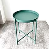 Anti-Rust and Waterproof Tray Metal End Table,Small Round Side Table Outdoor&Indoor Snack Table, Accent Coffee Table