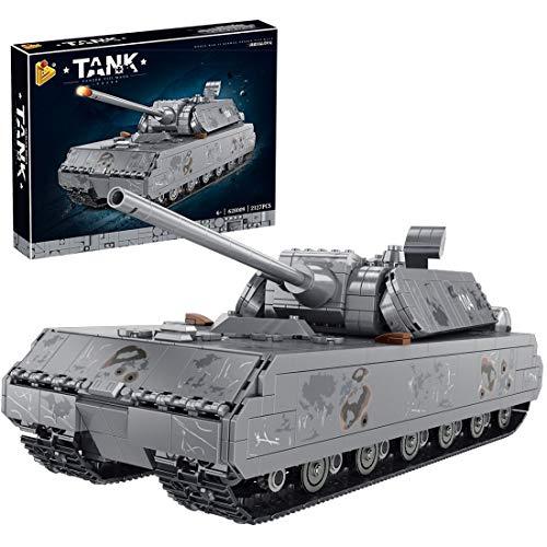 BGOOD Technik Panzer Bausteine Bausatz, 2127 Teile Deutsche Panzerkampfwagen VIII Maus WW2 Militär Panzer Modell für Kinder und Erwachsene, Kompatibel mit Lego Technic