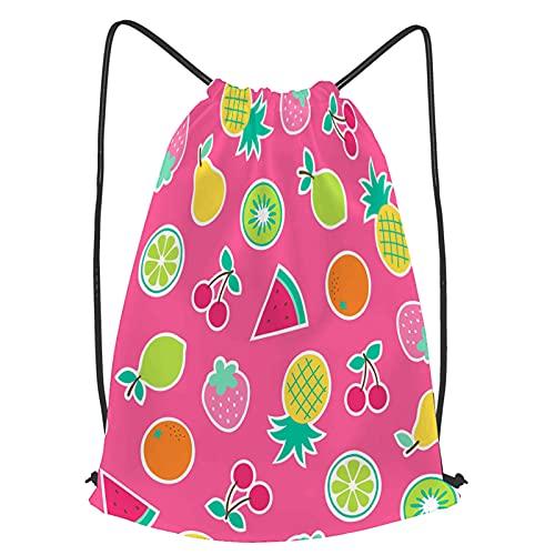 YMWEI Impermeable Bolsa de Cuerdas Saco de Gimnasio Dibujado a mano lindo frutas tropicales sin costura Deporte Mochila para Playa Viaje Natación