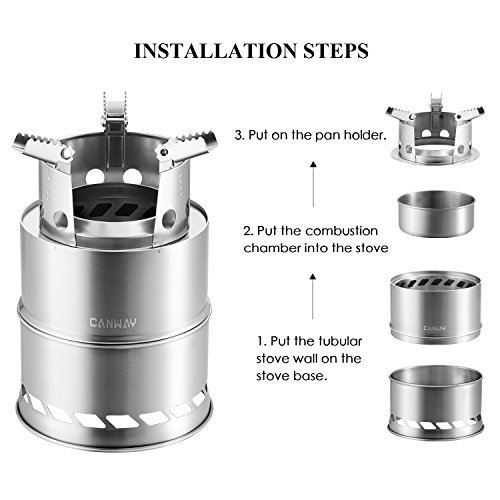 Product Image 4: CANWAY Camping Stove, Wood Stove/Backpacking Stove,Portable Stainless Steel Wood Burning Stove with Nylon Carry Bag for Outdoor Backpacking Hiking Traveling Picnic BBQ
