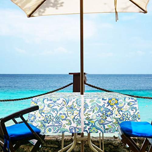 Eforgift Square Wrinkle Resistant Water Free Zipper Tablecloth Umbrella Hole, Classic Moroccan Quatrefoil Umbrella Tablecloth Oil Proof Fabric Soft, Seats 4 People (Paisley Zip, 60Wx60L)