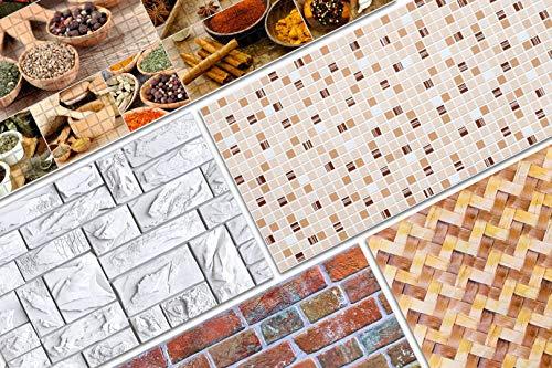 3D Wandpaneele ca. 96x48cm - große Auswahl von stabilen und pflegeleichten PVC Platten - zur Wandverkleidung z. B. als Küchenrückwand - 1 Platte (54638)
