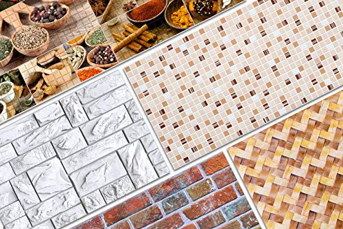 3D Wandpaneele ca. 96x48cm - große Auswahl von stabilen und pflegeleichten PVC Platten - zur Wandverkleidung z. B. als Küchenrückwand - 1 Platte (50319)