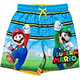 SUPER MARIO Mario Luigi Toddler Boys Swim Trunks Blue/Yellow 2T