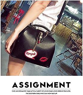 HAWEEL Anti-Theft Classic Retro Messenger Travel Embroidered Lipstick Doctor Bag Ladies Shoulder Bag Red Lip Handbag S (Black) Sling Crossbody Mini Purse One Size (Color : Black)
