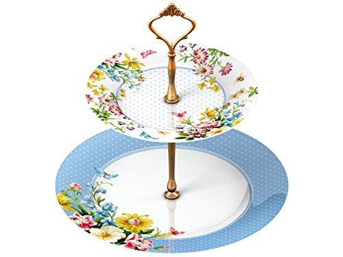 """Katie Alice """"English Garden"""" 2 Tier Porcelain Cake Plate Stand by Creative Tops"""