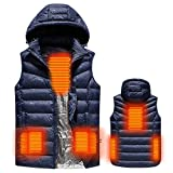 USB Heated Warm Security Intelligent Autumn and Winter Vest with Hat Men Motorcycle Outdoor Ski...