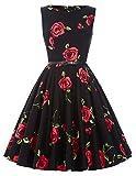 Vestido Vintage Vestido Negro Vestido de Flores Grandes Vestido Floral S 25#