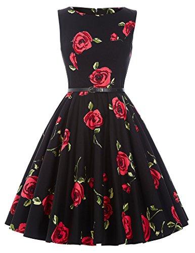Vestido Vintage Vestido Negro Vestido de Flores Grandes Vest