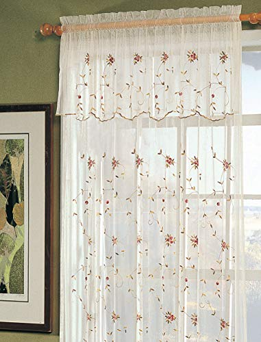 Creative Linens Embroidered Lace Roses Floral Window Curtain Panel with Attached Valance, Beige, One Piece