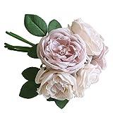Sunday Wohnaccessoires & Deko Kunstblumen Künstliche Rose Silk Blumen 5 Blüte Blatt Garten Dekoration DIY rosa Blume Pink (Rosa2)