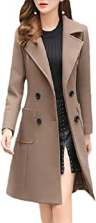 Womens Casual Winter Slim Double Breasted Long Wool Blended Pea Coat