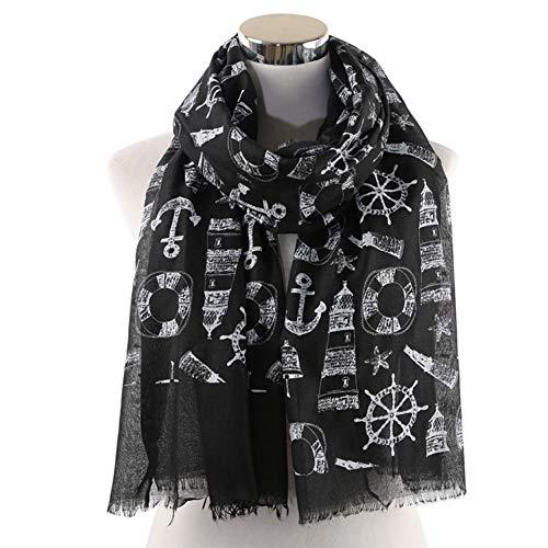 MYTJG Lady sjaal zwart grijs sjaal zeilboot-patroon wikkelde de warme en comfortabele warme sjaal van de dames een
