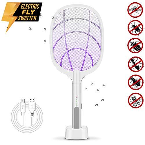 NSDDTXD Fliegenklatsche Elektrische Insektenvernichter Fliegenfänger USB Wiederaufladbar Moskito Zapper mit LED Beleuchtung und 3000V Gitter,3-Schicht Mesh Schutz,Ideal für Drinnen und Draußen