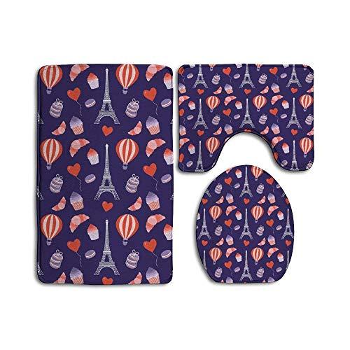 Juego de 3 alfombras de baño – Alfombrilla antideslizante para inodoro o baño, cubierta para ducha o spa, pasteles de París y Torre Eiffel