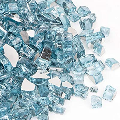 SHINESTAR 15 Pound Fire Pit Glass, 1/2 inch Reflective Caribbean Blue Fire Glass for Fire Pit, Gas Fireplace, Propane and Natural Gas, Sparkle and Shiny