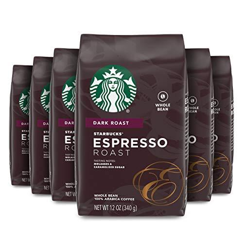 Starbucks Dark Roast Whole Bean Coffee — Espresso Roast — 100% Arabica — 6 bags (12 oz. each)