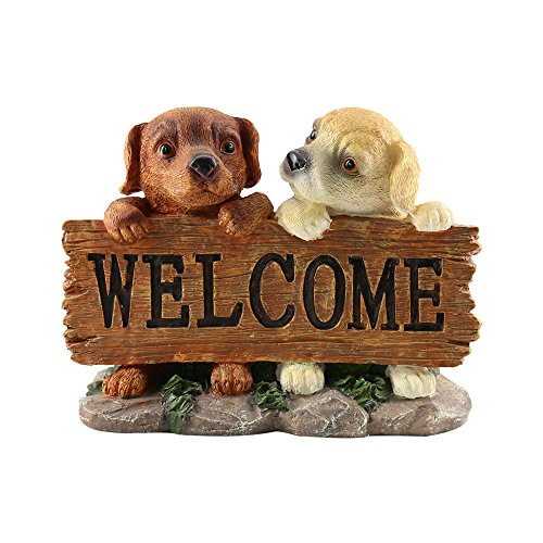 Sdtdia Dog Resin Ornaments Decoration Cute Dogs with Welcome Sculpture Artwork Best Gift for All Festival (Welcome-dog)