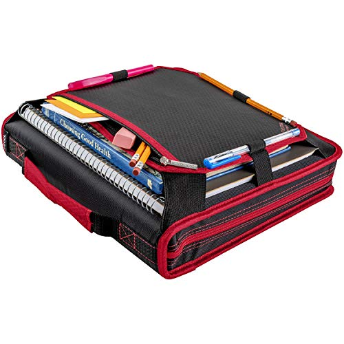 Five Star 2 Inch Zipper Binder, 3 Ring Binder, Expansion Panel, Durable, Red/Black (29052CE8) Photo #3