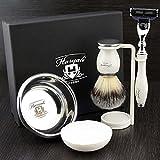 Haryali London Kit de afeitado para hombre, 4 piezas, 3 filos, con cepillo de afeitado de pelo de tejón sintético, soporte y cuenco perfecto para hombres