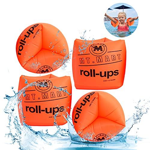 Gohytal Manguitos de natación para niños y adultos, ayuda para principiantes, de goma irrompible, ayuda de natación segura para piscina, playa, etc. (naranja)