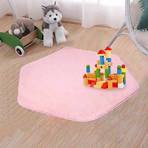 beebeerun Kids Play Mat Plush Carpet Rug Hexagon Coral Play Mat Rug for Princess Tent