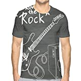 Men's T-Shirt Casual Novelty Short Sleeve,Love The Rock Music Themed Sketch Art Sound Box and Text On Chalkboard M