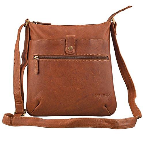 STILORD \'Lina\' Elegante Vintage Damen Umhängetasche Schultertasche klein Abendtasche Klassische Handtasche 10.1 Zoll Tablettasche echtes Leder, Farbe:Cognac - braun