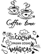 2pcs Pegatinas Pared Cocina Decorativas con Frases Españoles Vinilos Letras Stickers Adhesivos Comedor Cafetería Restaurante Habitación Coffee time En esta cocina.