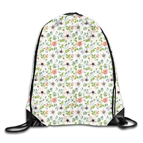 Drawstring Gym Bag Backpack,Botanical Watercolor Flourish Pattern In Artistic Nature Design,Rucksack for School Sports Travel Women Children Birthday Present
