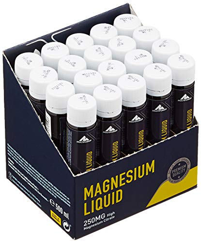 Multipower Supplements Magnesium Liquid im 20er Pack (20 Ampullen / insg. 500 ml) – Hochkonzentriertes Magnesiumcitrat unterstützt die Regeneration – Mineralstoff beugt Muskelkrämpfen vor