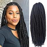 6 Packs Cuban Twist Marley Hair Marley Braiding Hair Marley Braid Crochet Hair Long Afro Kinky Curly Hair For Faux Locs or twist Synthetic Fiber Hair Extensions (18 inch 1B)