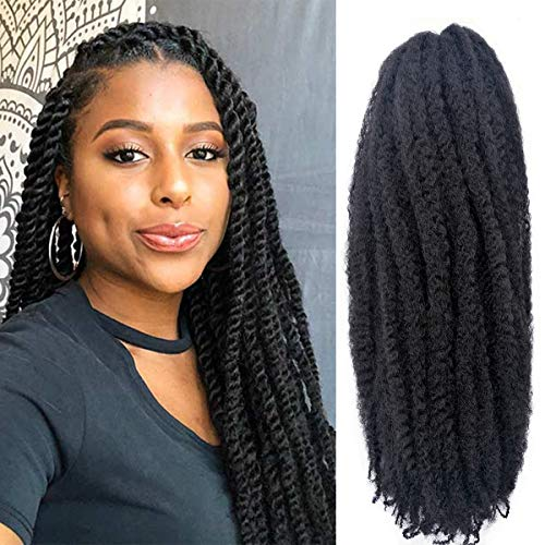 6 Packs Marley Hair Marley Braiding Hair Marley Braid Crochet Hair Long Afro Kinky Curly Hair For Faux Locs or twist Synthetic Fiber Hair Extensions (18 inch 1B)