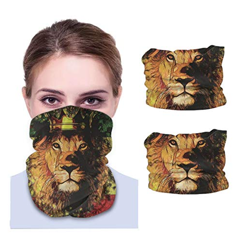 Gesichtsmaske, Bandana für Staubschutz, Krone, Reggae, König, Rasta, Löwe, Stirnband, Halswärmer, 2 Stück