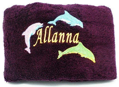 "Personalized Beach and Pool Towel With Embroidered Name and Dolphin Design 100% Cotton 30""x 54"""