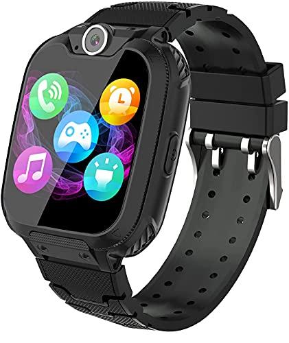 Smartwatch für Kinder, 7 Spiele, Musik, MP3, Armbanduhr für Kinder, Mädchen, Jungen, Telefonanrufe mit Touchscreen für Kinder, mit 1 GB SD-Karte, Kamera, Alarm, Smart Watches, 3 – 12 Ys, Schwarz