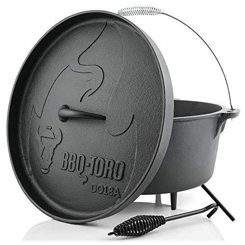 BBQ-Toro Dutch Oven Alpha Serie I bereits eingebrannt - preseasoned I Verschiedene Größen I Gusseisen Kochtopf I Bräter mit Deckelheber (DO18A - 19,0 Liter, Topf mit Füße)