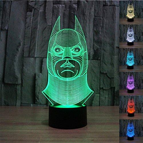 SmartEra Ilusión óptica 3D Modelo de Batman, cambio de 7 colores, puesta toque el botón de escritorio USB LED lámpara de mesa de luz