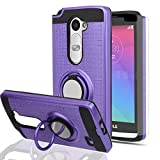 Ymhxcy for LG Leon Case,LG Tribute 2 Case with HD Phone Screen Protector,360 Degree Rotating Ring & Bracket for LG Leon LTE C40/ Tribute 2 (LS665)/ Destiny L21G/ Power L22C/ Risio-ZH Purple