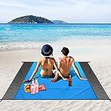 Alfombras de Playa, unibelin Manta Picnic 210 x 200 cm, Manta Playa con 4 Clavos Fijos, Alfombra de Picnic Bordes Reforzados para la Playa, Camping, y Picnic etc., Eventos al Aire Libre