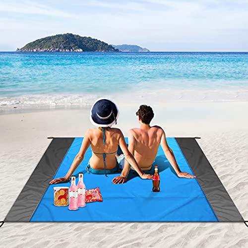 unibelin Picknickdecke, Stranddecke 210 x 200 cm Campingdecke Sandabweisende Wasserdicht Strandmatte mit 4 Befestigung Ecken Ultraleicht Stranddecke für Strand, Camping und Picknick