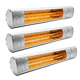 3x Kiam 2KW Electric Infrared Outdoor Garden Patio Heater Wall Mounted Water-resistant (IP65 rated) With Remote Control