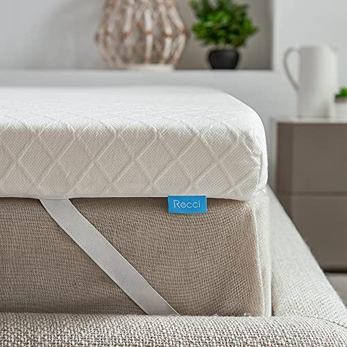 RECCI 100% Reine, Originale RG50 Memory Foam Topper 180x200cm, Viskoelastische Matratzenauflagen für Boxspringbett oder als Matratzentopper für Unbequeme Doppelbetten 180 x 200 x 6cm