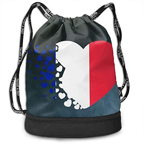 jenny-shop Frankreich Flagge Liebe Herz Kordelzug Multifunktionale String Rucksack Benutzerdefinierte Cinch Rucksack Rucksack Sporttasche
