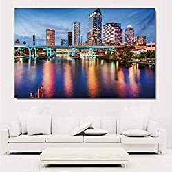 ParadiseDecor City Art Decor Decals Stickers Hillsborough River Tampa Florida USA Downtown Idyllic Evening at Business District Poster Wall Prints for girs 48x32 Inch