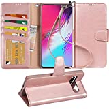 Arae Case Compatible for Samsung Galaxy S10, PU Leather Wallet case [Stand Feature] with Wrist Strap and [4-Slots] ID&Credit Cards Pockets (Rose Gold)