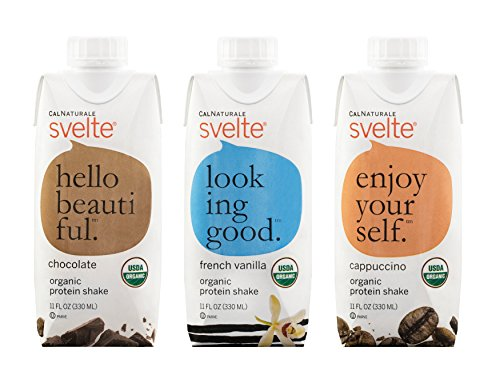 Svelte Organic Protein Shake, Variety Pack, 11 Fl Oz (Pack of 12)