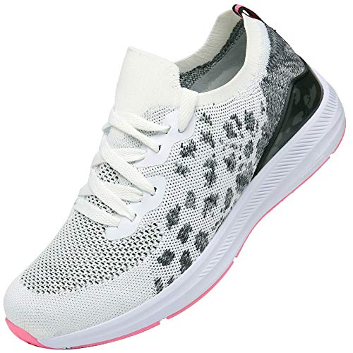 KOUDYEN Zapatillas Deporte Hombres Mujer Gimnasio Running Zapatos para Correr Transpirables Sneakers,XZ581-Whitepink-EU41